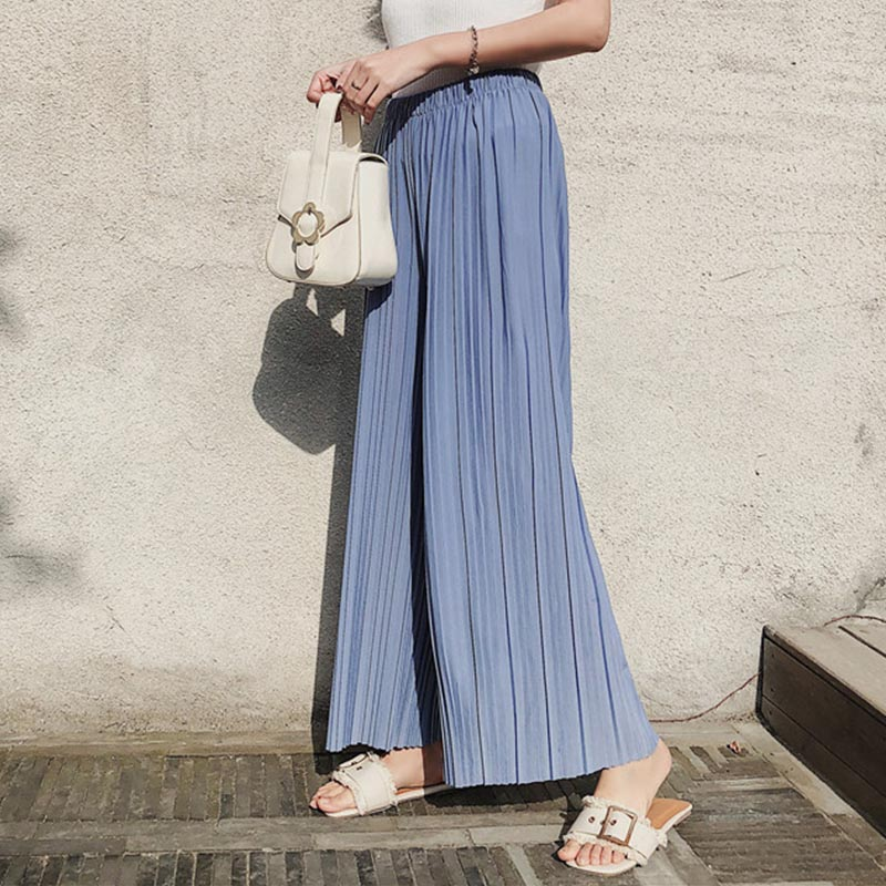 High Waist Pleated Chiffon Wide-leg Pants Women Elastic Waist Loose Hong Kong Style Student Cropped Pants Solid Female Spring