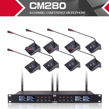 XTUGA CM280 UHF 8 Channels Gooseneck Conference Wireless Microphone System Mics