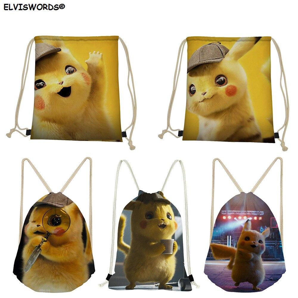 ELVISWORDS Cute Pikachu 3D Printed Drawstring Bag Pokemon Gym Sack  Custom Logo Travel Bag Worek Plecak Sznurek Women Cloth Bag