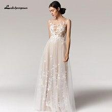 Lakshmigown Boho düğün elbisesi 2021 vestido de novia v yaka kolsuz dantel aplikler tül A-Line gelinlikler