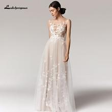 Lakshmigown Boho Wedding Dress 2021 vestido de novia V-neck Sleeveless Lace Appliques Tulle A-Line Wedding Gowns