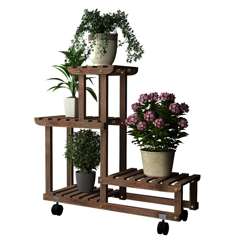Multi-storey Indoor Balcony Shelf A Living Room Solid Wood Quality To Ground Railing Meaty Green Luo Botany Frame