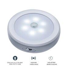 Luz de pared activada con Sensor de movimiento del cuerpo PIR, 6LED, lámpara de inducción nocturna, para armario, pasillo, Sensor led