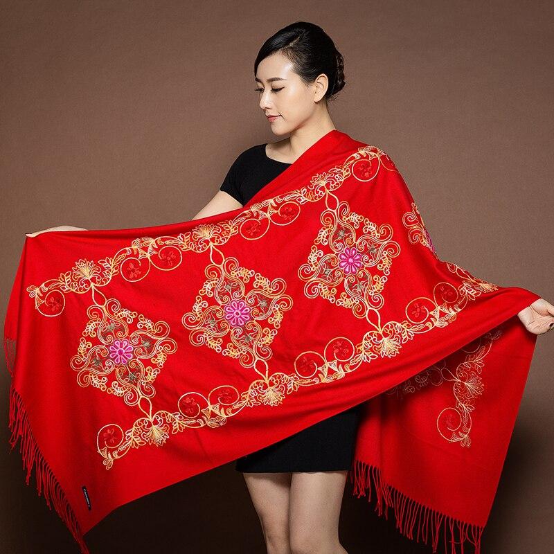 2019 New Women Embroider Flower Pashmina Cashmere Scarf Winter Soft Tassels Shawl Warps Fashion Travel Keep Warm Shawls Scarves