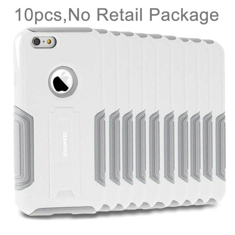 10 pièces HAWEEL pour iPhone 6 Plus et 6s Plus Double Couche TPU En Plastique boîtier combo avec Béquille, Pas de Vente Au Détail, Besoin d'autres marchandises en gros peut envoyer des emails pour fournir des images, toutes les marchandises ont, les ...