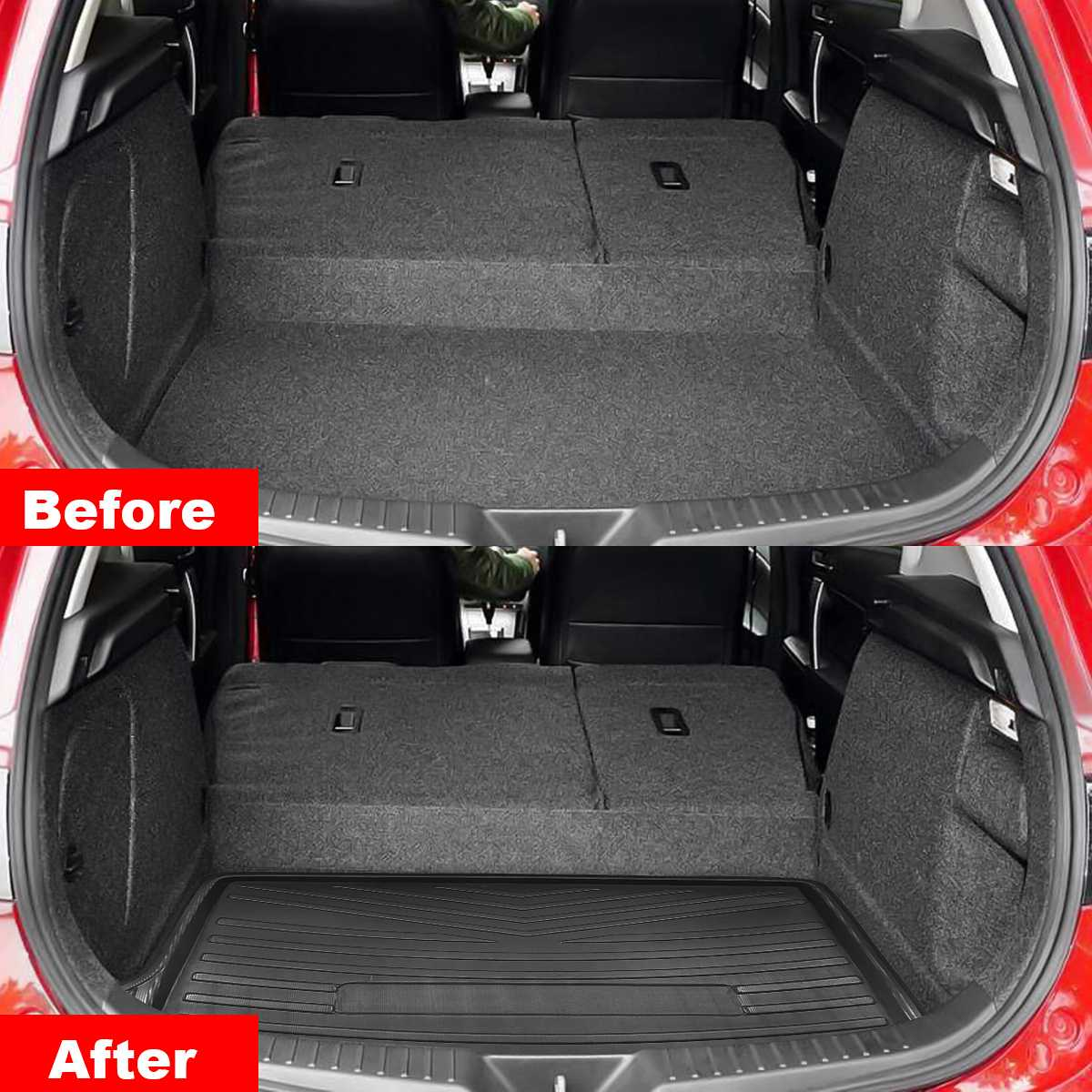 Car Rear Trunk Cargo Liner Boot Tray Cover Matt Mat Floor Carpet Kick Pad For Mazda 3 2014 2015 2016 2017 2018 Hatchback