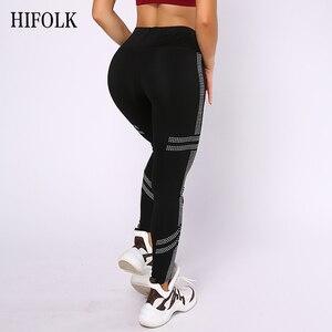 Image 4 - Hifolk cintura alta mulheres workout leggings push up hip sexy leggings respirável absorver suor calças de fitness para esportes ginásio preto