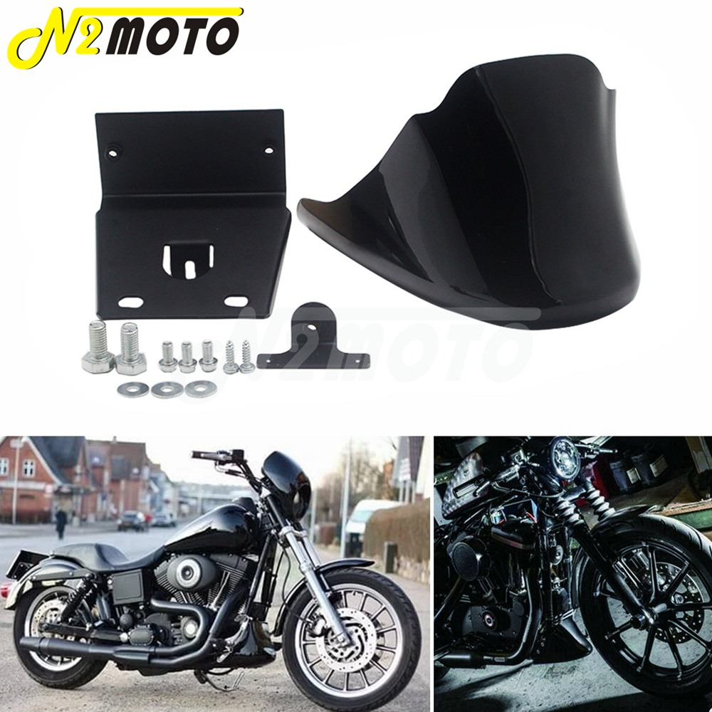 Black Front Chin Spoiler Fairing Air Dam Mudguard Cover Compatible for Harley Davidson Sportster XL Iron Forty Eight 2004-2020