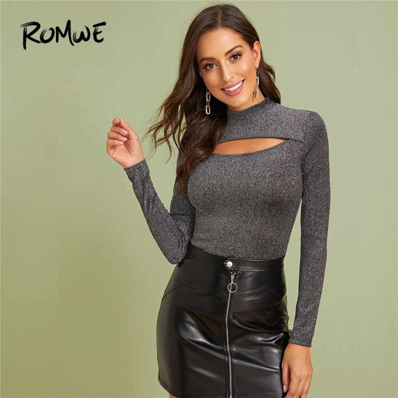 ROMWE Mock-Neck Cut Out Front Glitter T Shirt Herbst Frühling Frau Kleidung Slim Fit Langarm Hemd Solide sexy Shirt Damen Tops
