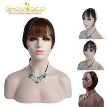 ShowCoco-moño con flequillo de cabello humano para mujeres y hombres, piezas de cabello liso, hecho a máquina, Remy, Clip Romo en flequillo