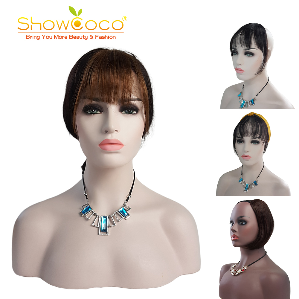 ShowCoco Clip In Bangs Human Hair Bangs Bun For Women And Men Straight Hair Pieces Machine-Made Remy Blunt Clip On Bangs
