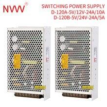 NVVV D-120W dual output switching power supply 110/220V AC to 5V 12V 24V DC Converter D-120A D-120B D-120C