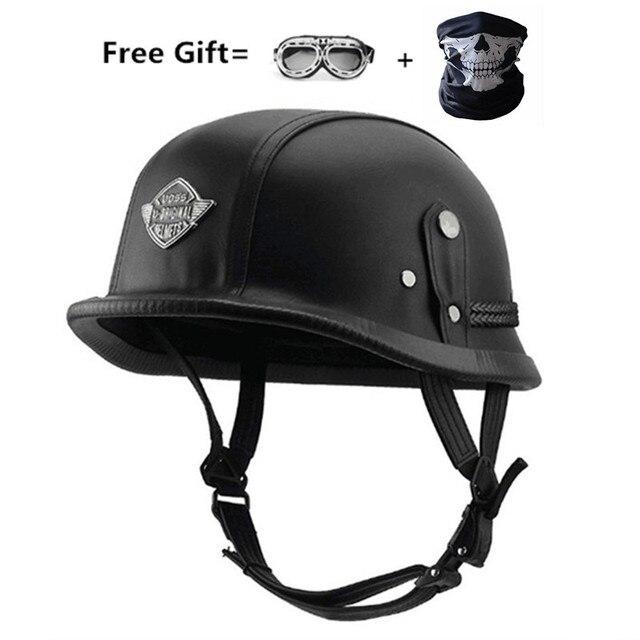 Casco de moto Vintage Retro alemán para hombre, protección para la cabeza, aprobado por DOT
