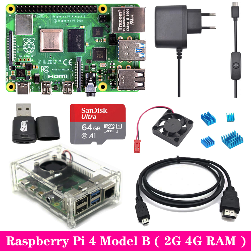 Original Raspberry Pi 4 2GB 4GB RAM with Acrylic Case Power Supply Adapter Aluminum Heat Sink for Raspberry Pi 4 Model B Pi4 4B(China)
