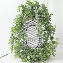 195cm Artificial Rattan Plastic Eucalyptus Money Leaf Vine Wedding Home Garden Decoration Artificial Hanging Plants