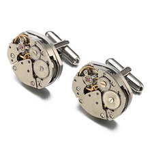 Festival Silver Vintage Anniversary Round High-end Gift Watch Movement Steampunk Clothing Accessories Brass Unique Men Cufflinks(China)
