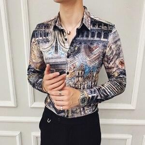 Image 4 - ฤดูหนาวเสื้อบุรุษกำมะหยี่หรูหราเสื้อบุรุษพิมพ์ Camisas Hombre SLIM FIT Royal Baroque Mens เสื้อผ้า Club PARTY DRESS