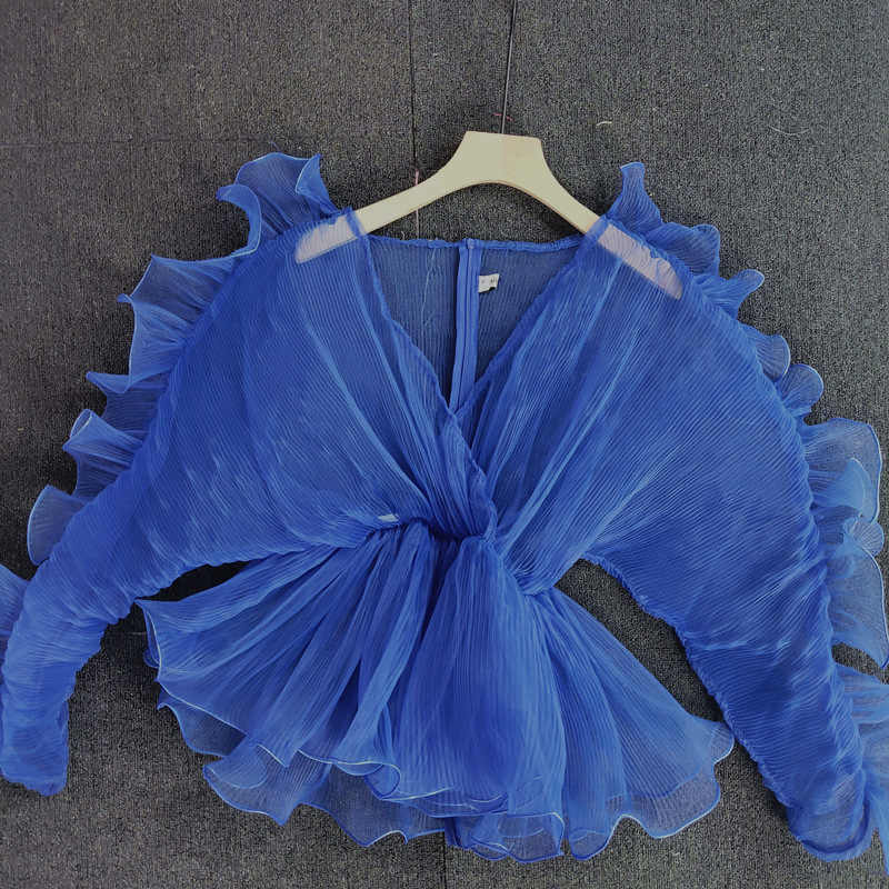 Falbala Blau Sexy Tunika Transparente Bluse Nacht Club Party Frauen Tops Langarm V-ausschnitt Mesh Rüschen Sommer Herbst Bluse