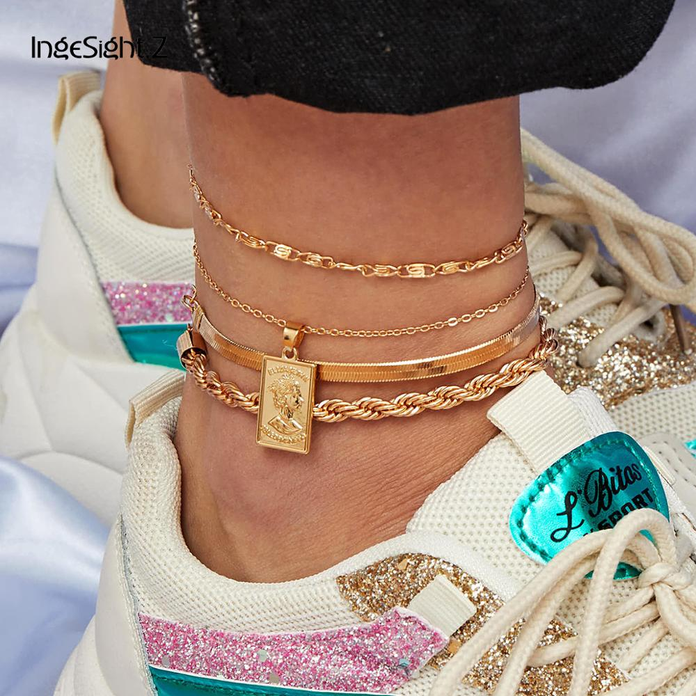 IngeSight.Z 4Pcs/Set Punk Portrait Carved Coin Pendant Anklets Bracelets Metal Rope Chain Barefoot Sandals On Foot Ankle Jewelry