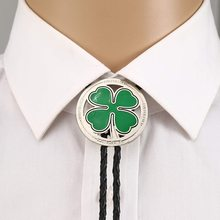 Suit-Accessories Collar-Rope Bolo-Tie-Leaves Western-Cowboy Clover Green Birthday Unisex