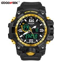 GOODWEEK Man Sport Watch Military Army Waterproof Digital Quartz For Men Dual Display Watches Swimming Relogios Masculino