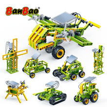 Banbao 8 em 1 blocos de construção de energia solar elétrica técnica montar tijolos modelo educacional crianças brinquedo 6905