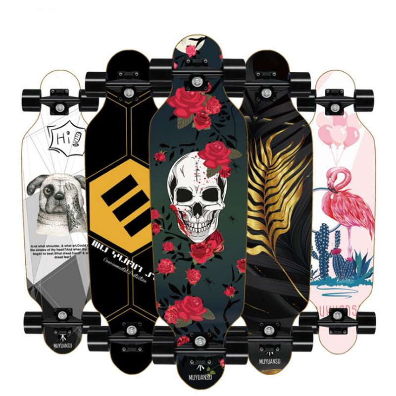 80*20*10cm Professional Dancing Longboard Deck Freestyle Street Skateboard Canadian Maple Longboard Cruiser 4 Wheels Skate