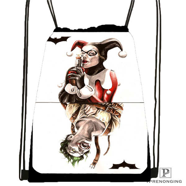 Custom Joker-batman-card Drawstring Backpack Bag Cute Daypack Kids Satchel (Black Back) 31x40cm#2018612-01-(2)