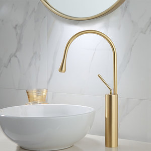 Image 2 - Brushed Golden Basin Faucet Single Lever 360 Rotation Spout Brass Mixer Tap For Kitchen Hot Cold Water Bathroom Basin Water Sink