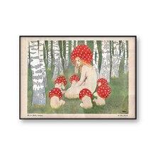 Póster Artístico impreso Vintage con estampado de setas para madre y madre con sus hijos, arte de pared de setas, decoración de bosque antiguo