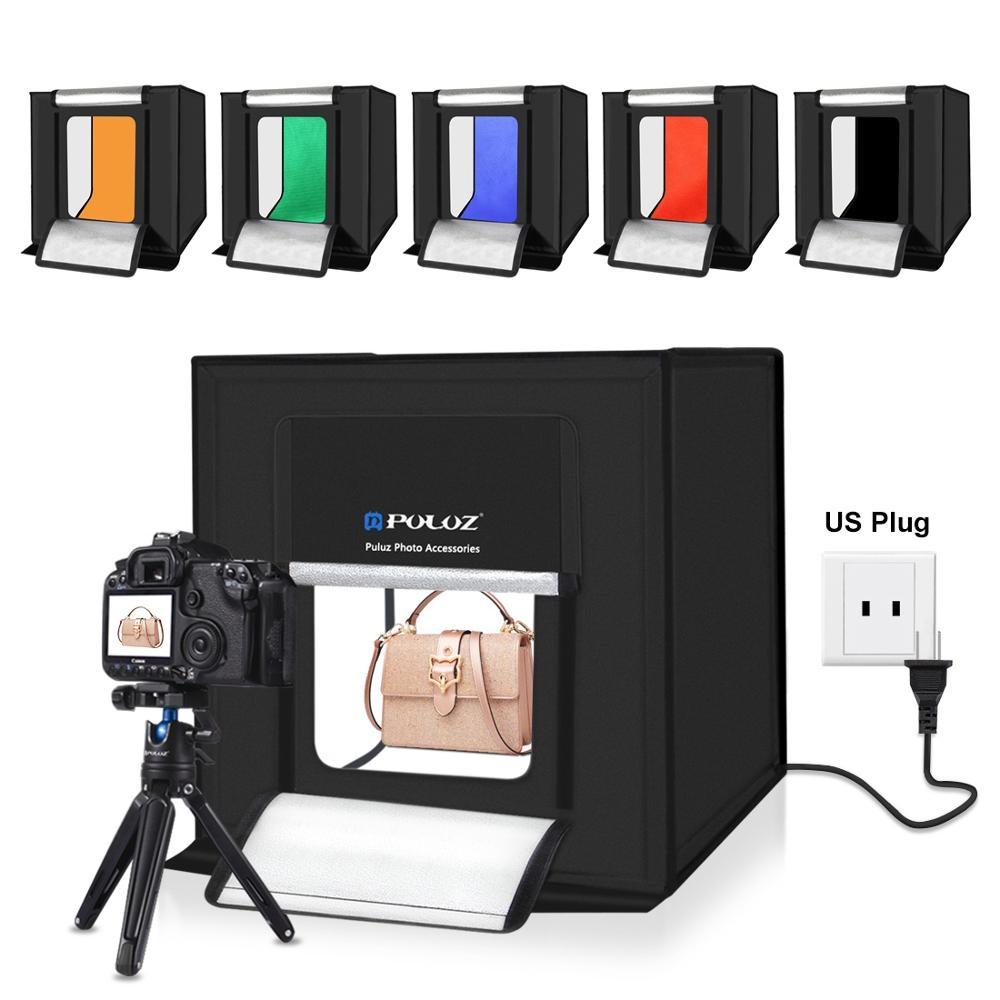 PULUZ 40cm Folding Portable 30W 5500K White Light Photo Lighting Studio Shooting Tent Box Kit with 6 Colors Backdrops