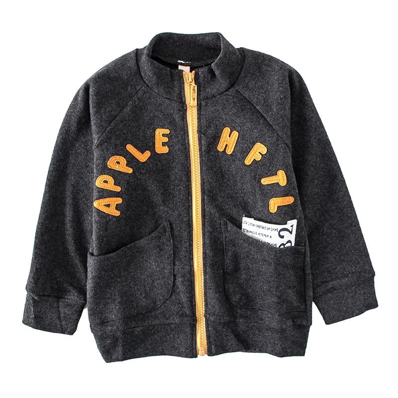 Nova primavera e outono meninos manga longa gola carta imprimir jaqueta de moda. Crianças lazer ao ar livre topos roupas para crianças