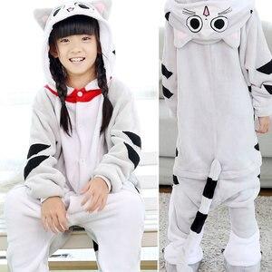 Image 5 - Kids Kigurumi Animal Pajamas Girl Boy Cartoon unicorn Panda Cosplay onesie Winter Warm Hooded Cute Sleepwear