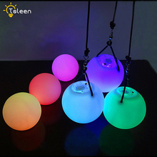 Belly Dance Balls RGB Glow LED POI Thrown Balls For Belly Dance Hand Props Stage Performance Accessories 1Pair=2Pcs LED POI
