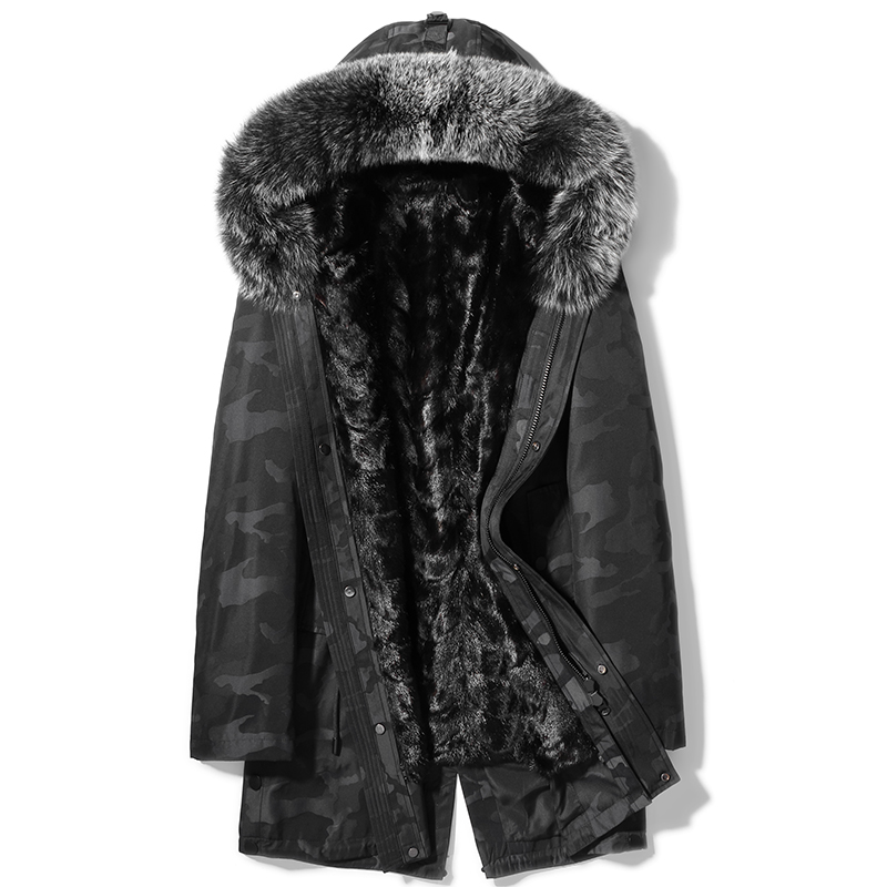 2019 Winter New Clothes Men's Fur Coat Hooded Fur Long Camouflage