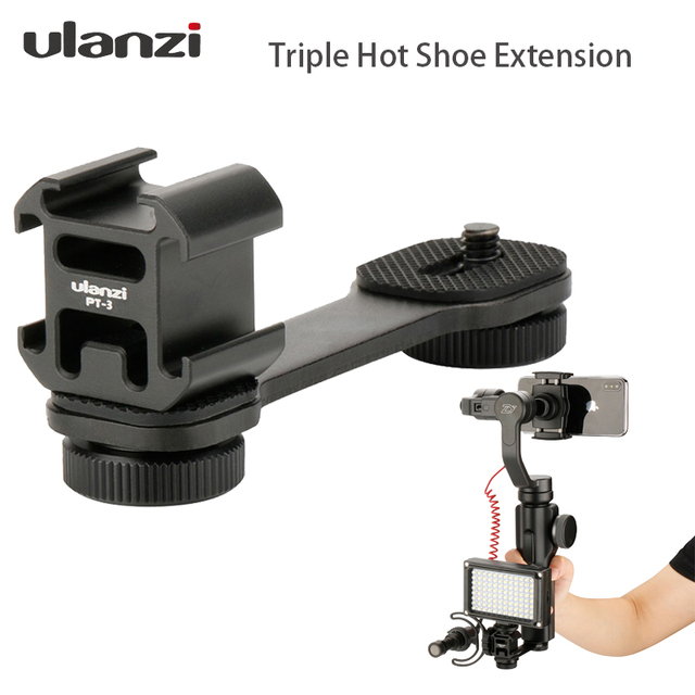 Ulanzi PT 3 Triple Hot Shoe Mount Adapter Microphone Extension Bar for Zhiyun Smooth 4 Stabilizer DJI Osmo Gimbal Accessories