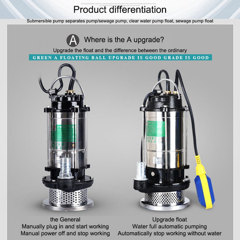 220V Sewage Pump Submersible Stainless Steel Non-blocking Water Pump Well Alternative Pumping Drainage Pump With EU Adapter
