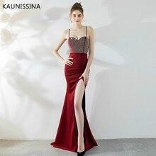 KAUNISSINA Sexy Mermaid Evening Dress Elegant V-neck Sleeveless Split Formal Crystal Beading Celebrity Party Long Prom Dresses