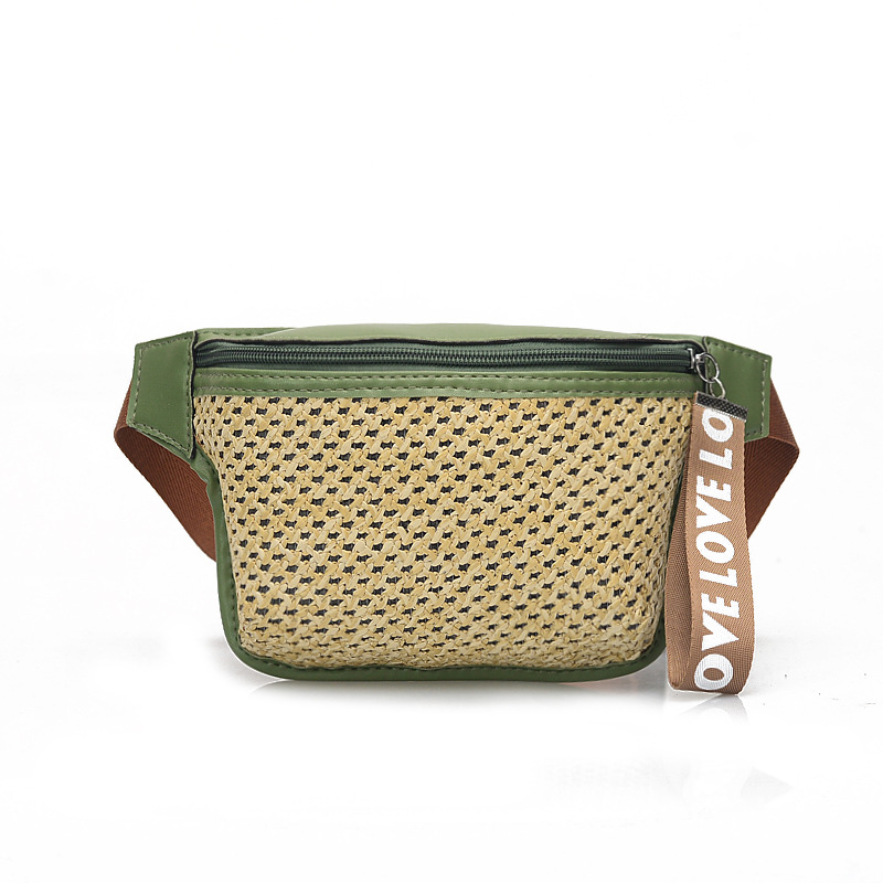 2019 Summer New Straw Weave Women Waist Bag Belt Bag Women Fanny Pack Braided Chest Bag Fashion Weaving Waist Pack Small