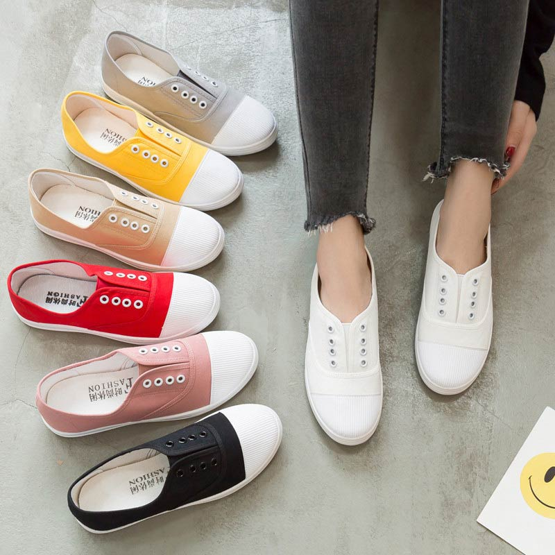 Women Sneakers Casual Shoes Woman 2020 Spring Solid Flat with Sneakers Womens Shoes Slip-on Canvas Ladies Shoes