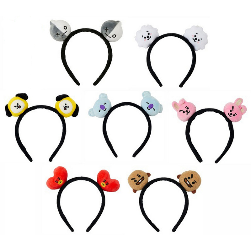 Kpop Cartoon Fashion Kawaii Band Bangtans Boys Korean Style Headbands Plush Hair Hoop Accessories Gift Kpop Head Band