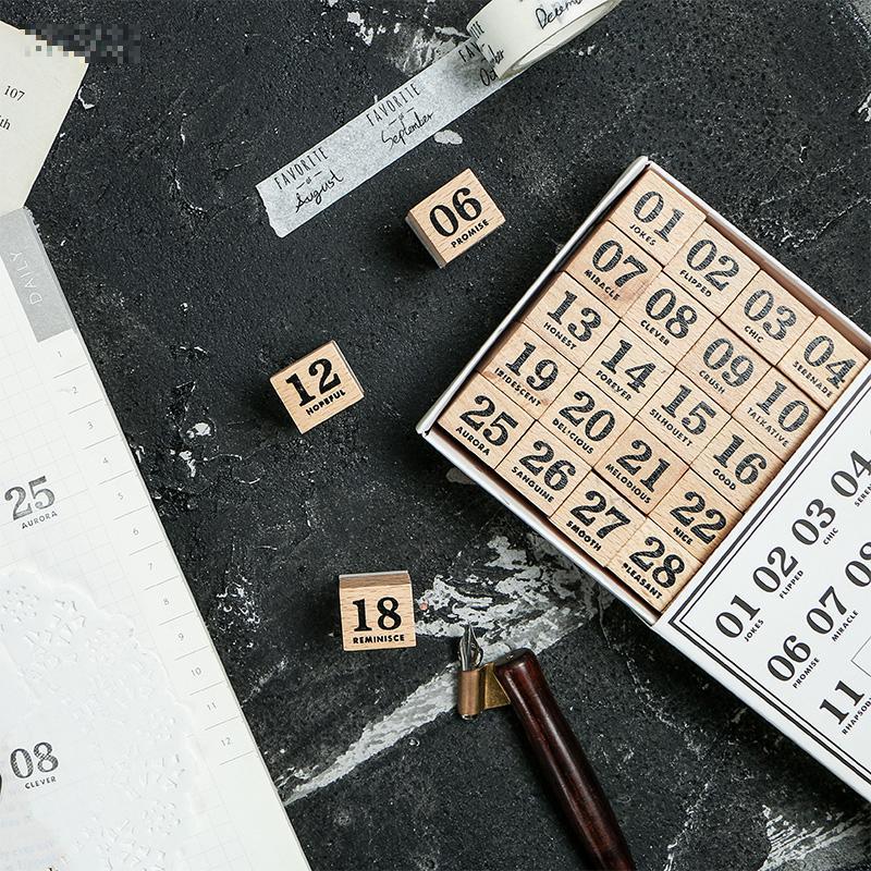 30pcs/set Vintage Calendar Record Stamp DIY Wooden Rubber Stamps For Scrapbooking Stationery Scrapbooking Standard Stamp
