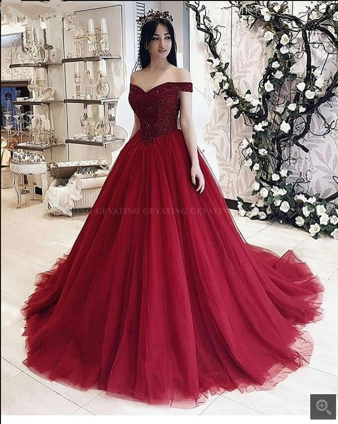 2019 Free Shipping Burgundy Tulle Ball Gown Heavily Beading Prom Dresses Sweetheart Neckline Princess Puffy Prom Gowns Best Sale