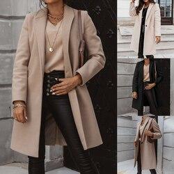 Inverno bege elegante mistura feminina coreano moda preto casacos longos do vintage minimalista casaco camelo oversize outwear
