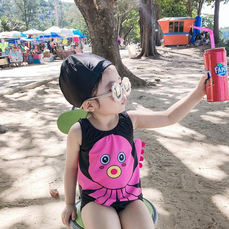 2019 Spring And Summer-Cartoon Children Small CHILDREN'S Swimwear Set Send Swimming Cap Beach Play Surfing Men And Women Treasur