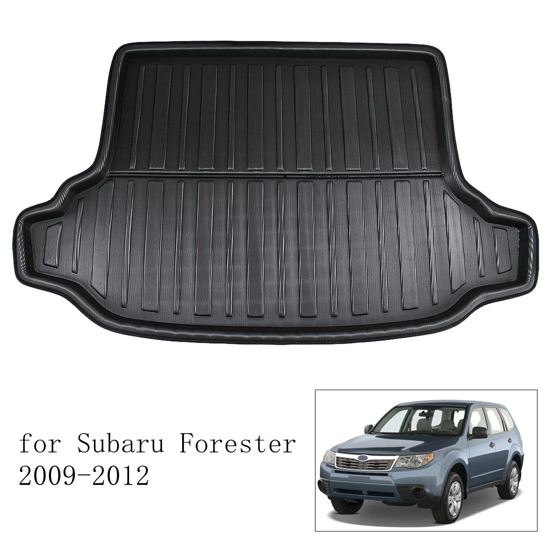 X AUTOHAUX Black Rear Trunk Boot Liner Cargo Mat Floor Tray for Subaru XV Crosstrek 12-17