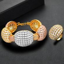 GODKI Luxury OVAL Link Bold Bangle Ring Sets For Women Full Micro Cubic Zircon Party Wedding Saudi Arabic Dubai Jewelry Set2020
