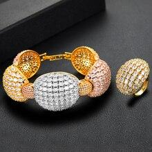 GODKI luxe ovale lien audacieux bracelet anneaux ensembles pour les femmes plein Micro cubique Zircon fête mariage saoudien arabe Dubai bijoux Set2020
