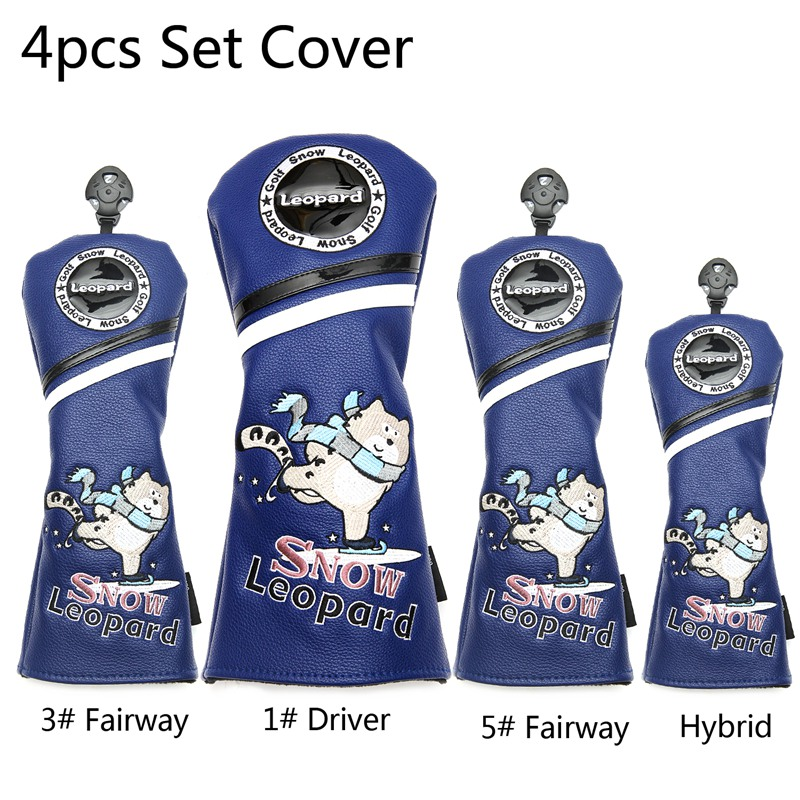 Siranlive Snow Leopard #1 #3 #5 H Golf Wood Headcovers 3PC/Set 460CC Driver/Fairway Wood/Hybrid PU Leather Head Covers Set