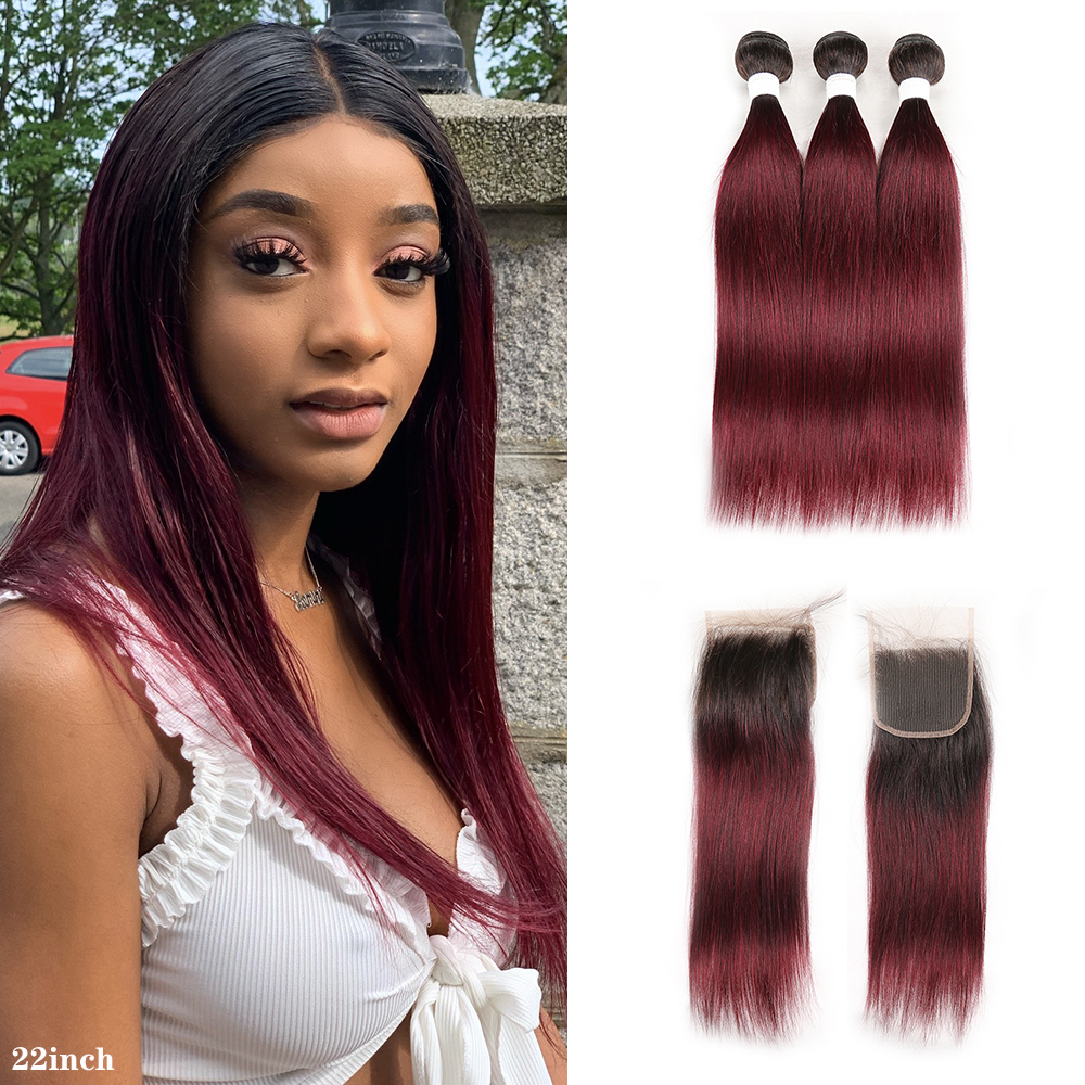 T1B/99J Ombre Human Hair Bundles With Closure 4x4 KEMY HAIR Brazilian Straight Hair Weave Bundles Non-Remy Hair Extension
